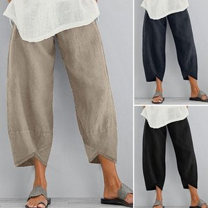 Casual Women Pants Elastic Waist Mid-Wasit Calf-Length Pants Solid Ladies Cargo Travel Outdoor Ladies Cropped
