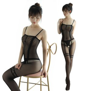 2019 Mujeres Sexy Falso Liguero Bodystocking Entrepierna abierta Estampado de rayas Medias corporales Crotchless Lencería Body Negro Medias