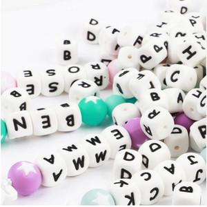 1pc 12mm Lettre silicone Teething Alphabet Perles silicone Perle Pour Nom personnalisé Decklace DIY Lettre silicone