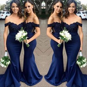 Nouveau Custom Navy Blue demoiselle d'honneur robes hors épaule dentelle Appliques sirène de mariage demoiselle d'honneur robe de mariée