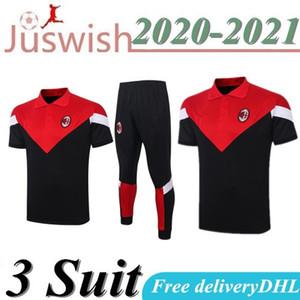 2020 2021 с коротким рукавом AC Milan Polo футбол спортивный костюм толстовка комплект survetement обучения куртка AC Milan с коротким рукавом футбол спорт