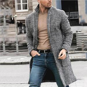 Herren Designer-Winter-lange Wollmäntel Plaid-Muster-Mode-Männer Warm Cardigan Mäntel Manteaux Hommes Gießen