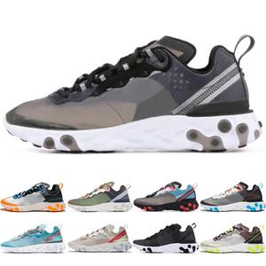 Nike React Element 87 Designer de luxo  Undercover Tênis de Corrida Das Mulheres Dos Homens Royal Tint Sail VOLTA RACER PINK Black Mens Trainer Sports Sneaker