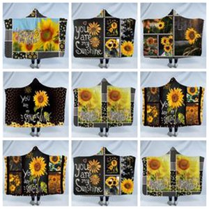 Kind-Plüsch-Bettwäsche Handtücher Wraps Sunflower Kapuzendecken Magie Cape Umhang Sherpa Nap Sofa werfen Swaddling Fleece Blanket Wearable AZYQ6268