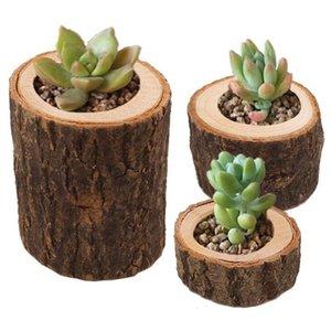 Stump Bougeoir 3pcs / set pilier rustique arbre en bois Candlestick Mini Flowerpot extérieur Jardin Succulentes Flowerpot OOA7513