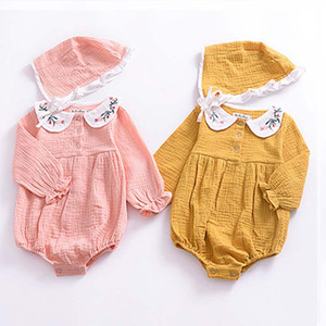 Baby Pagliaccetti Baby Doll Collar Abito ricamato bambini manica lunga tuta PP vestiti congiunti 95% cotone 58