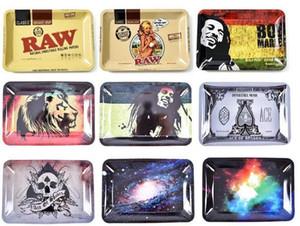 RAW Kleine Größe 180 * 125 * 15mm Tabak Rollen Metall Tray Handroller Tabak Grinder Rauchzubehör Zigaretten Werkzeuge Rollwannen