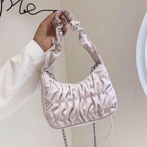 2020 Luxury Design Women Hobo Pleated Tote Bag Candy Color Summer Underarm Bag Nylon Handbag Small Shoulder Female Purses