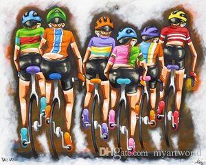 ciclismo bicicleta arte, pintado a mano de alta calidad HD Print Modern Abstract Pop Art pintura al óleo sobre lienzo múltiples tamaños / opciones de marco Ab277