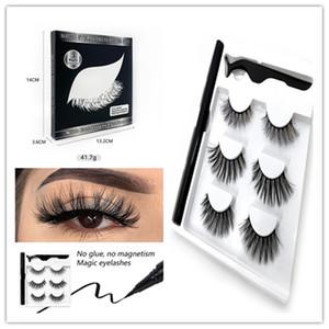 Free Shipping ePacket! New arrival handmade fake lashes self-adhesive eyeliner + tweezer 3 pairs eyelashes set false eye lashes extensions