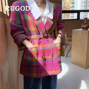 RUGOD Fashion Bright Pink Grüne karierten Wollmantel Frauen-elegante Kerb zweireihige lange Wolljacke Herbst-Winter-Mantel