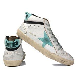 Golden Goose Superstar Mid étoile Hight Baskets montantes Bottes en cuir véritable hommes et femmes Blanc Classique Retro-Do sale vieux sport Chaussures Casual