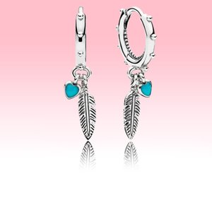 Blue Hearts and Feather Hoop Earrings 925 Sterling Silver Women Girls Jewelry for Pandora Love Heart pendant Earring with Original box