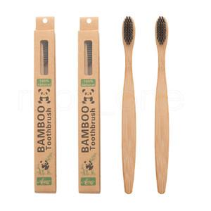 Nouveau design Santé charbon de bambou environnement Brosse à dents Oral Care Pour le nettoyage des dents Eco moyen souple Brosses Bristle RRA2212
