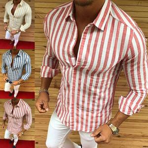 Moda casual para hombre de manga larga botón de ajuste delgado rayado vertical camisas de visita rayada Camisas de hombre inconformista Hip Hop