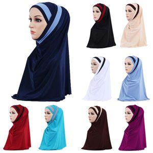 2 Piezas mujeres musulmanes pañuelo bufanda del mantón Hijab Wrap Headwear Amira islámica cubierta completa de Oración Sombrero árabe Worshipe Servicio Hijab