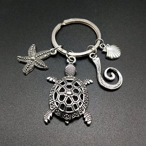 Antique Key Keychain Holder Sea Animal Keyrings Starfish Turtle Shell Silver Charms Car Key Chain Rings Jewelry Fashion Promotion Favor Gift