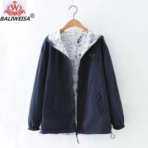 BALIWEISA 2020 Nueva otoño Mujeres chaqueta de bombardero básico Colocación del bolsillo de cremallera con capucha bilateral de impresión de la historieta Outwear Armada Loose
