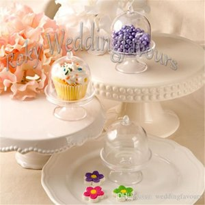 FREE SHIPPING 12PCS Acrylic Clear Mini Cake Stand Baby Shower Party Gifts Birthday Favors Holders Kids' Party Decoration Supplies Ideas