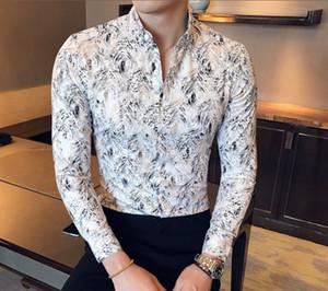 Otoño Nueva Boutique oro de la manera seda de la impresión camisas de manga larga casuales de los hombres de las camisas adelgazan ocio de los hombres