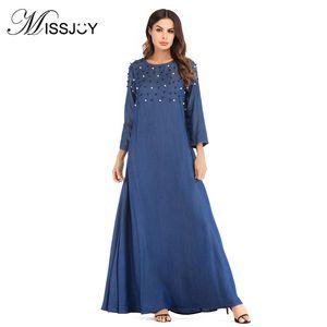 MISSJOY arabo vestito dal denim Abayas Bead turco maxi vestiti marocchino caftano Rivet Jeans vestido Vestido Tradicional Musulman