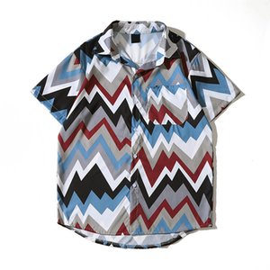 Geometrico Stampato Tropical Camicie turn-down collare camicie oversize Via hawaiane Camicie Beach per l'uomo