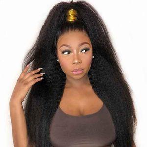 Kinky Straight 360 Lace Фронтальная парик Поддельные скальп 13x4 фронта шнурка итальянский яки Поддельный скальп полный шнурок человеческих волос Парики