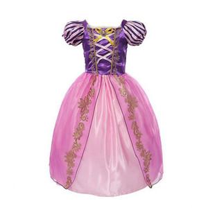 VOGUEON Niñas Rapunzel Cosplay Princesa Costume Girl Blancanieves Belle Cenicienta Bella Durmiente Cumpleaños Fiesta de Halloween Vestido