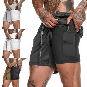Short de fitness pour hommes Courir Sport Entraînement Jogging Casual Pantalon de survêtement avec poche cachée