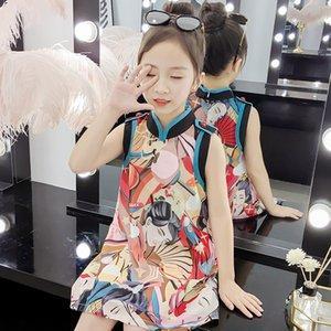 Maniche Bambino Nuovo cinese tradizionale Cheongsam vestito di estate Hanfu abito qipao Tang Suit For Children Festival CostumesDQS2363