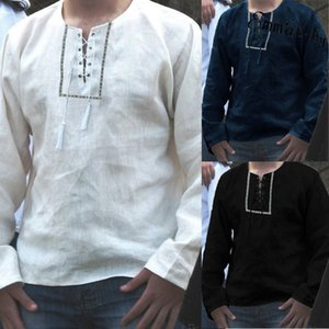 Erkek Keten Keten Tişört Casual O-Yaka Uzun Kollu T Shirt Tees Nefes tişörtleri Tops