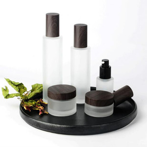 50pcs lot 30ml 100ml Lotion bottle glass matte high-grade cosmetic lotion bottle wood grain cover