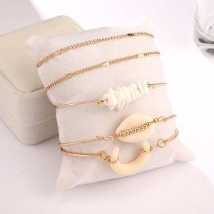 Trompe Bohemian Qualité Bracelets Shell Pendent réglable Charm Bracelets Ensemble pour les femmes Fille Amitié Bracelet cadeau Chaînes plage N9Y