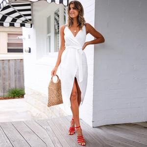 Sólido Casual Cor Mulheres Vestidos V Neck Solid Color Womens Vestido Moda Verão de Split roupa das senhoras