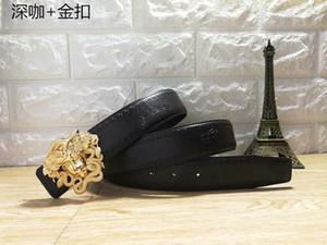 2018 Lüks Yüksek Kalite ceinture Tasarımcı Kemerleri Moda Kahve ızgara desen toka kemer erkek bayan kemer
