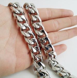 15мм огромного тяжелые 18-40 дюймов Чистого серебра из нержавеющей стали кубинских Снаряженных цепей ожерелья твердого звена цепь ювелирных изделия для мужских подарков высокого качества
