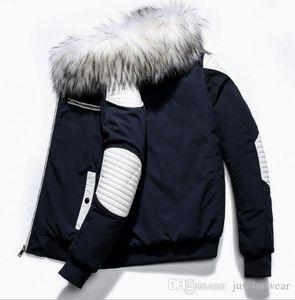 Mens Winter Fur Jacktes с капюшоном теплая сгущает куртки пальто Hommes Повседневный Contrast Цвет Верхняя одежда Мужской пуховики пальто