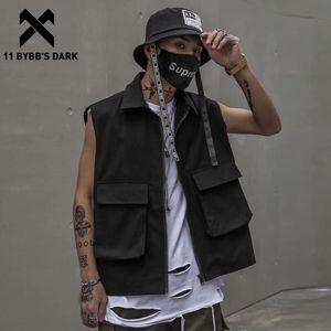 11 Dark BYBB Vintage multi tasche maglia tattica modo degli uomini di Hip Hop senza maniche Tops 2020 Streetwear Harajuku Maschio merci Cappotti