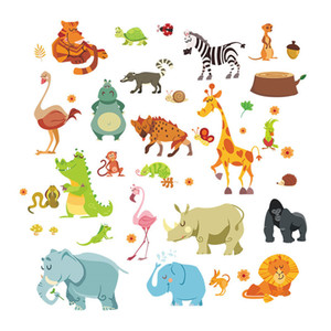 Funny Happy Zoo Cute Dinosaur Zebra Giraffe Snake Wall Stickers For Kids Rooms Baby Home Decor Cartoon Animals Decals Diy Mural