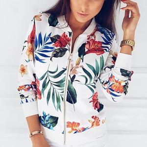 Imprimir Bombardero capa de la chaqueta de las mujeres Flores cremallera hasta retro de primavera y verano de manga larga básico más la corto motorista Chaquetas Mujer
