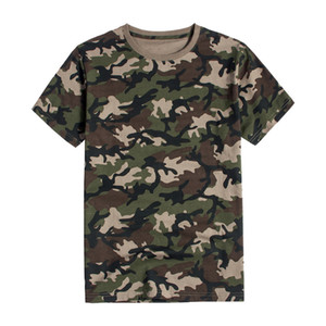 Men's jungle camouflage shirt pure cotton short-sleeved t-shirt military training expand outdoor loose sweat-absorbent breathable shirts