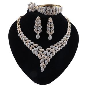 Igeria Klassischer Schmuck Sets Elegant Bride Hochzeit Blätter Form-Halskette Ohrring-Armband-Ring für Dubai Frauen Schmuck