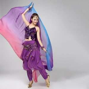 *Beauty Women Belly Dancing Costumes Chiffon Yarn Scarf Solid Belly Dance Veils Stage Performance Props H