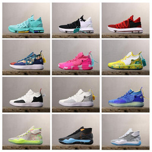 2019 Chaussures de basket KD10 KD12 KD11 Baskets KD 11 12 10 Royal Mammary Cancer Black Moon Années 90 Enfant Université Rouge Kevin Durant