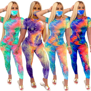 Womens 3 Print Two Tracksuits With Face Mask Tie-dye Outfits T Leggings Shirt Pants Piece Trousers Sets Clothes 2 Streetwear Piece Clot Fxqd
