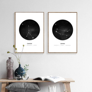 Constelación Nursery Wall Art cartel de la lona imprime astrología minimalista geométrico pintura nórdica Niños Decoración Fotos