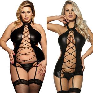 Plus Size Femmes Sexy Lingerie de nuit en cuir Notte + G-string noir PU Sous-vêtements 2019 Nouveau