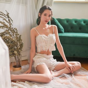 White retro style lingerie with drawstring, strapless and short fun women's nightwear,sexy soft comfortable set pajamas