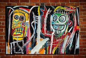 """Jean-Michel Basquiat """"Dustheads"""" Huge Großes Wandbild Handgemachte Ölgemälde auf Leinwand für Wand-Dekoration im Wohnzimmer 0,49"""