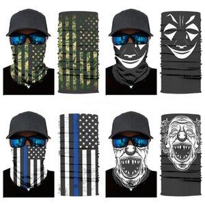 Designer Printed Women Silk Magic Skull Scarf Face Mask 14 Styles Chiffon Handkerchief Outdoor Windproof Half Face Dust-Proof Sunshade Ma#614